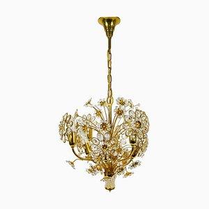 Lámpara de araña de cristal y latón dorado dorado de Palwa, Alemania, años 60