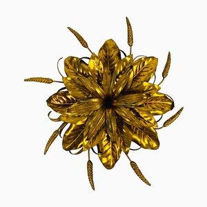 Golden Florentine Flower Shape Flush Mount by Hans Kögl, Germany, 1970s