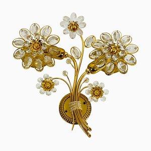 Florale Wandleuchte aus Kristallglas von Palwa, 1960er