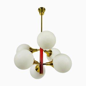 Lámpara de araña era espacial en rojo de 6 brazos de Kaiser, Germany, años 60
