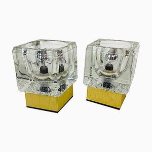 Lámparas de mesa Ice Glass Cube con base de latón de Peill & Putzler, años 70.Juego de 2