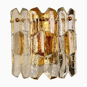 Palazzo Wall Light Fixture in Gilt Brass and Glass by J.T. Kalmar