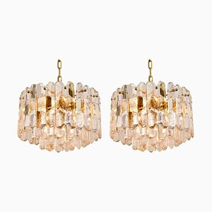 Chandeliers or Pendant Lights Palazzo in Gilt Brass and Glass from Kalmar, Set of 2