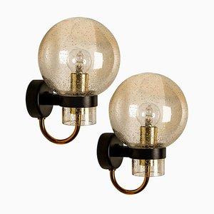 Wandlampen aus Geblasenem Glas, Messing & Schwarz von Limburg Glashütte, 1960er, 2er Set