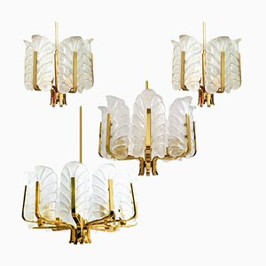 Different Sizes Glass & Brass Chandeliers by Fagerlund for Orrefors, 1960, Set of 6