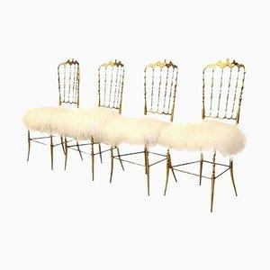 Italienischer Stuhl aus Wolle & massivem Messing Stuhl von Chiavari