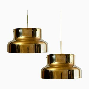 Golden Solid Brass Bumling Lamps by Anders Pehrson for Atelje Lyktan, 1960, Set of 2