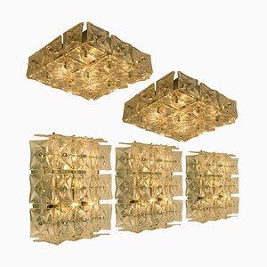 Wandlampe oder Deckenleuchte aus Nickel Kristallglas von Kinkeldey, 1970er