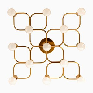 Leola Sculptural Brass 13-Light Ceiling or Wall Flush Mount, 1970s