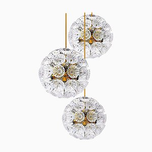 Floral Brass and Glass Chandeliers in the Style of Emile Stejnar, Set of 3