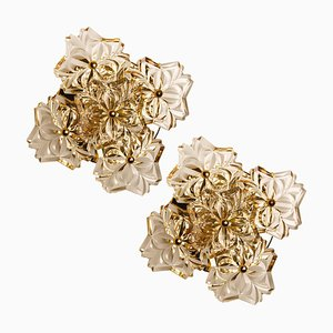 Mid-Century Brass Floral Wall Lights from Hillebrand, 1970s, Set of 2