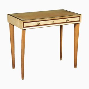 Writing Desk in Beech, Glass & Parchment Paper, Italy, 1950s