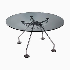 Tavolo Norman Foster in metallo cromato e vetro, anni '90
