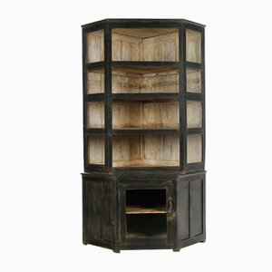 Large Patinated Wood Corner Cabinet