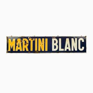 Plaque publicitaire émaillée Martini Blanc