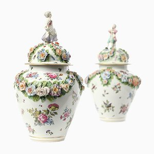 Porcelain Saxony Vases, Set of 2