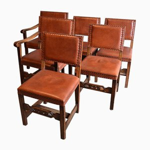 Table de salle à manger extensible antique en chêne avec six chaises en cuir