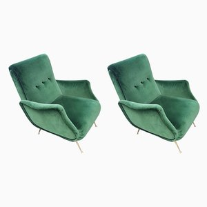 Mid-Century Green Velvet & Brass Leg Lady Zanuso Armchairs, Set of 2