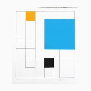 Gottfried Honegger, Composición 3 cuadrados 3D (azul, naranja, negro), 2015