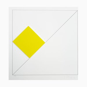Gottfried Honegger Composition 1 3D Quadrat (Gelb), 2015