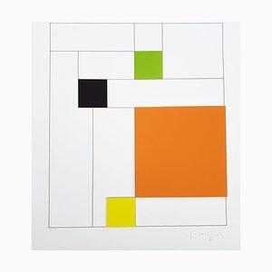 Gottfried Honegger Composition 4 carrés 3D (orange, vert, noir, jaune), 2015