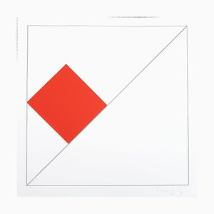 Gottfried Honegger Composition 1 3D Square (Red), 2015