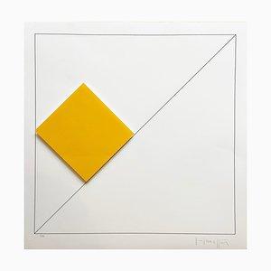 Gottfried Honegger Composition 1 3D Quadrat (Orange), 2015