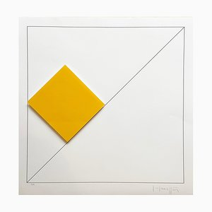 Gottfried Honegger Composition 1 3D Square (naranja), 2015