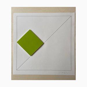 Gottfried Honegger Composition 1 3D Quadrat (Grün), 2015-2020