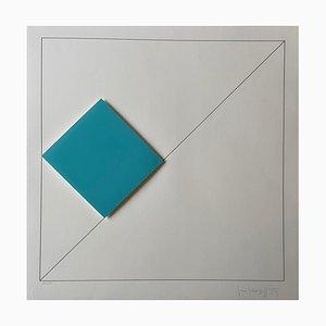 Gottfried Honegger Composition 1 3D Quadrat (hellblau), 2015-2020