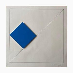 Gottfried Honegger Composition 1 3D Quadrat (Dunkelblau), 2015-2020
