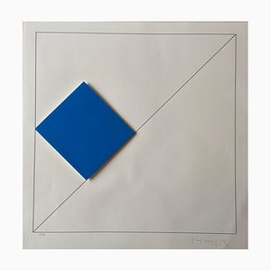 Gottfried Honegger Composition 1 3D Square (Dark Blue), 2015 2020