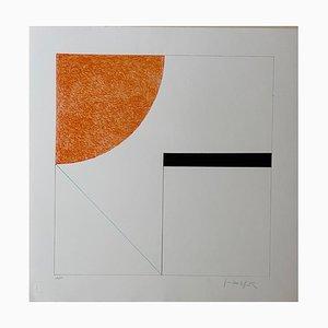 Composición 2 de Gottfried Honegger (naranja, negro y azul claro), 2015 2020