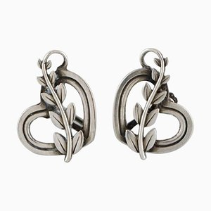 Pair of Georg Jensen Earrings in Sterling Silver, Hearts with Foliage