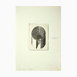 Danilo Bergamo - Composition - Gravure originale sur carton - 1970