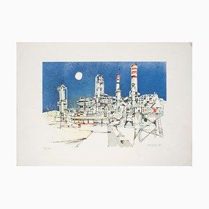 Giuseppe Megna - la fábrica - Litografía original sobre papel - 1980