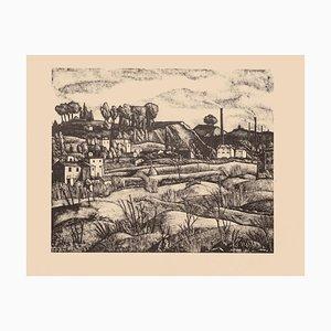 Litografia originale su carta - Diego Pettinelli - Landscape - 1936