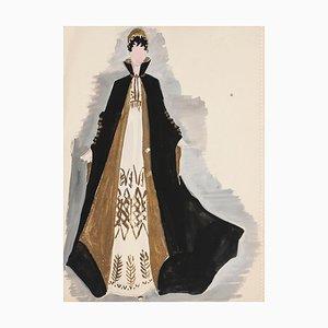 Alkis Matheos - Costume - Peinture originale - Milieu du XXe siècle