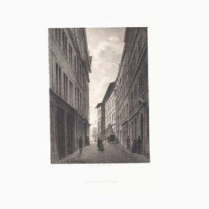 Antonio Fontanesi - Intérieur de Genève - Lithographie originale - Milieu du XIXe siècle