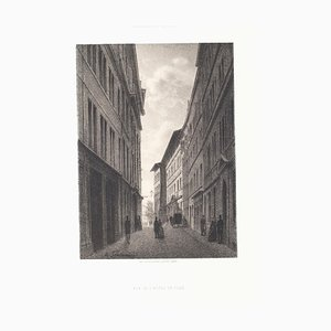 Antonio Fontanesi - Interior of Geneve - Litografía original - Mediados del siglo XIX