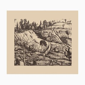 Diego Pettinelli - Landscape - Original Lithografie auf Papier - 1930er