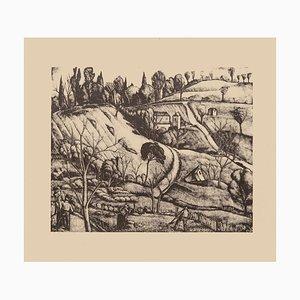 Litografia originale su carta di Diego Pettinelli - Landscape 1930s