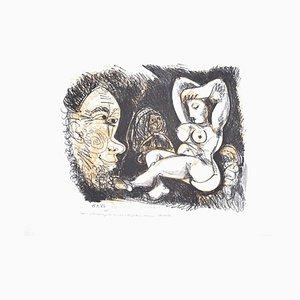Gianpaolo Berto - Homenaje a Picasso - Grabado original sobre cartón - 1974