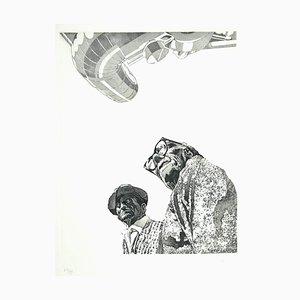 Francesco Manzini - Figuras - Grabado original sobre papel - 1974