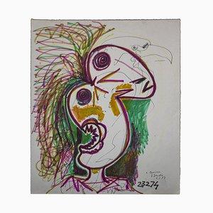 Gianpaolo Berto - Ave del paraíso - Dibujo original en técnica mixta - 1974