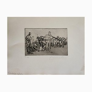 Anselmo Bucci - Militant - Grabado original - 1917