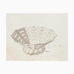 Desconocido - Jarrón de porcelana - Acuarela original y tinta china - 1880