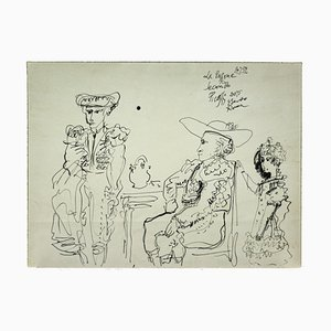 Gianpaolo Berto - Homage to Picasso - Original Ink Drawing - 1974