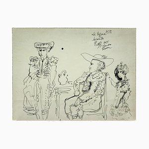 Gianpaolo Berto - Hommage à Picasso - Dessin original à l'encre - 1974