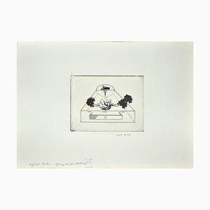 Danilo Bergamo - Roses - Gravure originale sur carton - 1970